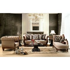 HDS Elegant Victorian Stationary Exposed Wood Frames Chenille Fabric Upholstery Living Room Sofa SetHDS