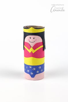 Make a Cardboard Tube Wonder Woman DIY Superhero out of recycled materials for a great imaginative play toy. Cardboard tube crafts are wonderful activities for your little ones, and this Wonder Woman will be easy and fun for them to make. Cardboard Tube Crafts, Paper Towel Roll Crafts, Cardboard Toys, Toilet Paper Roll Crafts, Hero Crafts, Paper Crafts For Kids, Manualidades Wonder Woman, Toilet Roll Craft, Homemade Toys