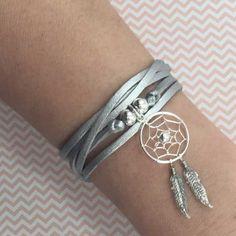 Bracelet suédine et attrape-rêve en argent 925. #bijoux #argent #argent925…