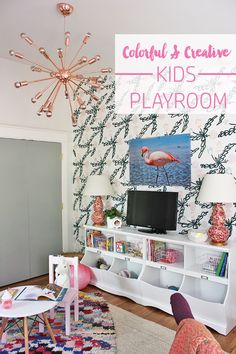Colorful & Creative Kids Playroom with DIY painted wallpaper