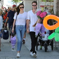 Out and about: Miranda Kerr and Evan Spiegel were spotted together on Sunday...