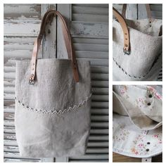 like the curved pocket - - - © Si un mas m'était conté. linen, lace, leather and faded floral!