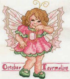Toddler Birthstone Fairy October Tourmaline Cross Stitch Pattern 1/5
