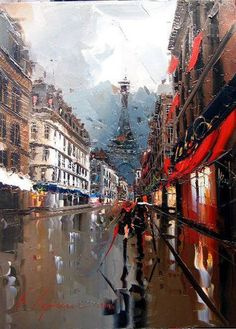 """"""" Awesome Artistic Representations of Paris, the City of Love by Kal Gajoum In art works of Kal Gajoum you can feel warmth and energy, which is often overlooked by contemporary artists. Torre Eiffel Paris, Image Paris, Maurice Utrillo, Georges Seurat, City Painting, Amazing Paintings, Oil Paintings, Art Competitions, Paris Art"""