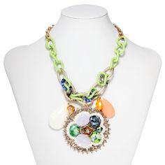 Multi Stone Handmade Medallion Charm Statement Necklace