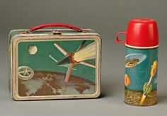 The Soviet launch of the Sputnik satellite in late 1957 sparked interest in the United States in science education even among elementary school children. In 1958, King Seeley Thermos produced this imaginative box evoking space travel and landings on distant moons and planets. This is one of the few pop culture lunch boxes from the late 1950s not designed around a television show.