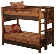 Reclaimed Barnwood Bunk Bed with Built-In Ladder $2500
