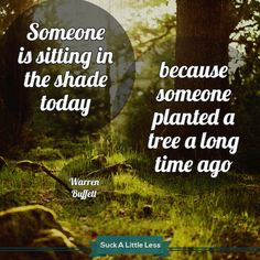Someone is sitting in the shade today, because someone planted a tree a long time ago. #quotes #motivational #suckless