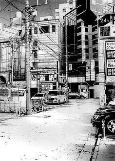Графика, архитектура, урбанизация, современный мегаполис, угол зрения, перспектива, тушь, маркеры, пустой город, город, нет людей, улица, провода, столбы, кабели, линии электропередач Environment Concept Art, Environment Design, Cityscape Drawing, Storyboard, Ligne Claire, Urban Setting, Urban Sketchers, Anime Scenery, Anime Sketch