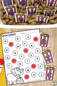 Preschool Circus, Circus Crafts, Preschool Letters, Alphabet Activities, Sensory Bins, Literacy Activities, Circus Theme, Letter Sounds, Abcs