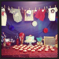 Baseball Theme Baby Shower Decorations | Baseball themes baby shower!! | For when the baby comes...