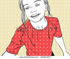 Hand drawn fashion illustration of happy young girl, Vector line art with polka dots background