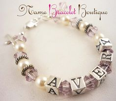 Baptism Gift for Girls Pearl Name Bracelet Custom Girl Toddler Child Sterling Silver Cross Christening Baptism Baby Gift Pink or Birthstone. $43.50, via Etsy.