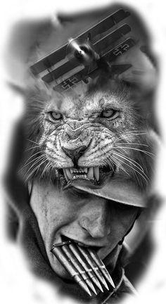 Ideas - New Tattoo Models Ozzy Tattoo, War Tattoo, Lion Tattoo, Army Tattoos, Warrior Tattoos, Military Tattoos, Black And White Lion, Black And Grey Tattoos, Chicano Tattoos