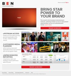 homepage design for BEN, the branded entertainment network