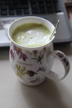 Abso-bloody-lutely delicious Matcha latte with cocunut cream on top <3 -- method: 2 bamboo spoons/1 teaspoon matcha powder! - You want to sieve it through a fine tea sieve to avoid clumps! - Add 1/4 cup hot water, a nice drizzle of agave syrup or any sweetener you desire; - whisk this in a nice Japanese tea bowl or wide enough bowl until frothy!! - Then add 3/4 to one cup almond milk (which you have just heated up) to the bowl. - Add coconut cream and enjoy your creamy Matcha latte!!! <3