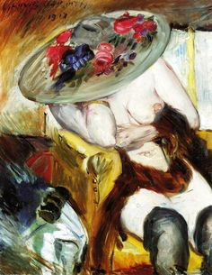 Italian Woman in a Yellow Chair, 1912 by Lovis Corinth. Impressionism. nude…