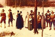 Plymoth Pilgrims going to worship.