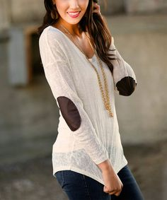 Another great find on #zulily! Ivory Patch Elbow Burnout Sweater by White Plum #zulilyfinds