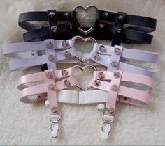 Heart Garter Belt Double Row Studded Suspender Leg Ring Multi Colors - http://pastelgothfreak.com