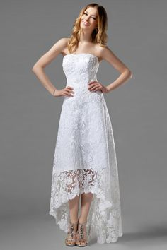 Lace high-low wedding dress. I would have to make the neckline sweetheart!