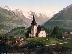 Frutigen, church and Alps, Bernese