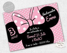 """☆☆ Invitation Anniversaire """"Minnie Rose"""" ☆☆ Création de cartons d'invitation d'anniversaire pour enfant, thème Minnie - Possibilité d'un envoi d'un PDF pour une impression par vous-même ou impression par nos soins avec prix dégressifs selon la quantité - Format : 10 x 14 cm. Plus de détails sur le site. #anniversaire #minnie #invitation"""
