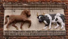 """WWW.HERMANSOUER.NL .. Gevelsteen """"PAARD EN OS"""", Stille Rijn 15, Leiden"""