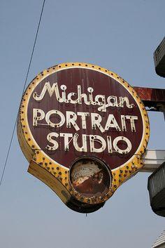 Vintage Neon portrait Neon Sign Michigan ave Chicago