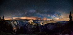 'A flawless point'. The photograph shows the Milky Way arching over Yosemite Valley in California's famous national park. A lens-shaped (lenticular) cloud hovers over the distinct granite dome of Liberty Cap, which rises to an elevation of over 2000m, near the centre of the photograph (Rogelio Bernal Andreo) | Out of this world: Astronomy Photographer of the Year 2013 - Yahoo! News UK