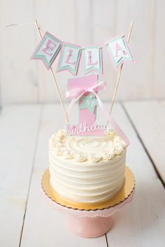 Girl / First Birthday cake topper. 1st birthday party decor. Pink and mint green. Fully assembled and customizable.