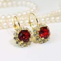 Red Earrings Red drop Earrings Red Christmas Earrings by TIMATIBO