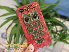 Red Hard Case Cover With Owl Branch for Iphone Case by moonboat, $8.99