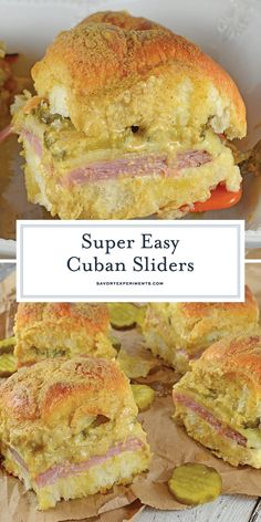 Cuban Sliders Are Made With Layers Of Ham, Pickles, And Cheese Between Delicious Sweet Hawaiian Rolls. An Easy And Yummy Appetizer Hawaiian Roll Sandwiches, Baked Sandwiches, Rolled Sandwiches, Slider Sandwiches, Appetizer Sandwiches, Yummy Appetizers, Appetizer Recipes, Kings Hawaiin Sliders, Sliders With Hawaiian Rolls