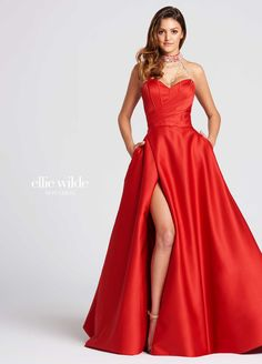 Ellie Wilde EW118020 - Strapless satin A line prom dress features beaded neck band, draped beading extends to strapless sweetheart neckline with visible boning on front of bodice. Full A line skirt features side pockets and side slit up to mid thigh. Removable straps are included.
