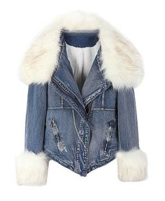 Detachable White Furry Collar and Cuffs Denim Coat