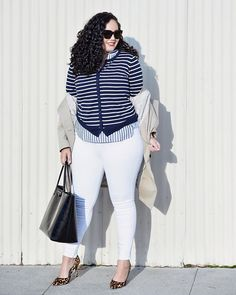 Girl with Curves featuring Trench Coat, Stripe Tunic, Stripe Cardigan, and White Jeans from Old Navy. White Jeans Winter, Fall Jeans, Plus Size Retro Dresses, Plus Size Outfits, Plus Size Fashion For Women, Plus Size Womens Clothing, Looks Plus Size, Full Figure Fashion, Girl With Curves