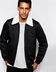 "Jacket by ASOS Medium-weight, woven twill Lightly padded for insulation Detachable borg collar Zip opening Side pockets Ribbed cuffs and hem Regular fit - true to size Machine wash 62% Polyester, 38% Cotton Our model wears a size Medium and is 191cm/6'3"" tall"