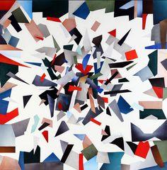 Laura Zeni,  Omaggio a Elle Decor, serie Geometrie ri-viste, 2016,  acrilico e collage su tela, cm 100x100