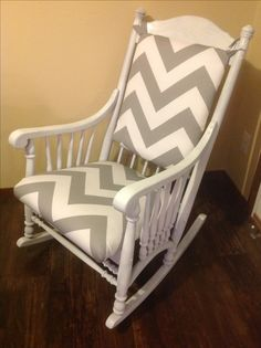 Just refinished this cute rocking chair with a white wash paint and wide gray chevron fabric