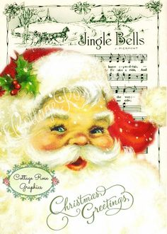 Sew Craft Vintage Red Santa Image Printed on Fabric Quilting Sewing Crafting FB 132 Vintage Christmas Photos, Christmas Pictures, Christmas Art, Winter Christmas, Antique Christmas, Old Fashioned Christmas, Old Sheet Music, Rose Cottage, Vintage Greeting Cards