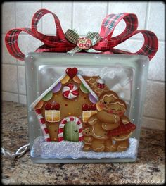 HP GINGERBREAD LIGHTED GLASS BLOCK #Handpainted