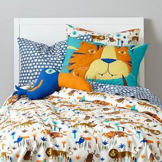Lions and Tigers Jungle Duvet Cover | The Land of Nod