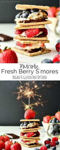 These Dark Chocolate Fresh Berry S'mores are the perfect, easy summer desser… These Dark Chocolate Fresh Berry S'mores are the perfect, easy summer dessert! Great for your of July celebrations and bonfires! Vegan and gluten-free options! Vegan Sweets, Healthy Dessert Recipes, Vegan Desserts, Delicious Desserts, Snack Recipes, Vegan Recipes, Free Recipes, Yummy Food, Baking Desserts