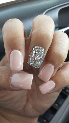 Wedding nails. Nude w/ rhinestones