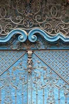 Ornate blue door, Wroclaw, Poland