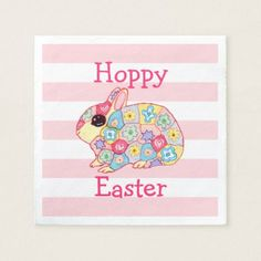 Cute wool heart with knitting needle photograph assorted whimsical bunny rabbit pink stripes hoppy easter paper napkin negle Images