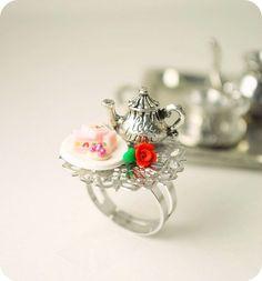 Tea Party Tray Ring Handmade Miniature Food Polymer Clay Jewelry.