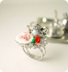 Tea Party Tray Ring Handmade Miniature Food Polymer Clay Jewelry