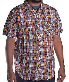 LRG Men's Patchwork Multi Plaid Button Up Shirt